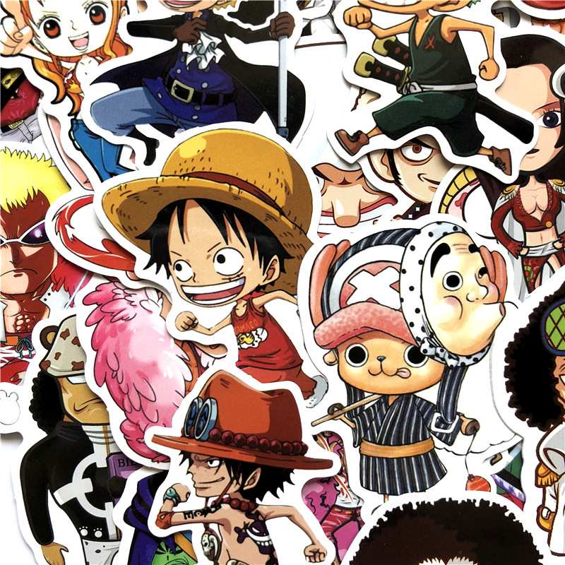 60pcs/set Anime 2019 ONE PIECE Luffy Stickers For Car Laptop PVC Backpack Home Decal Pad Bicycle PS4 Waterproof Decal F5
