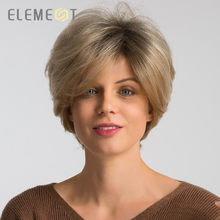 Element 6 inch Short Synthetic Wig Blend 50% Human Hair Left Side Parting Mixed Blonde Pixie Cut Cosplay Party Wigs for Women(China)