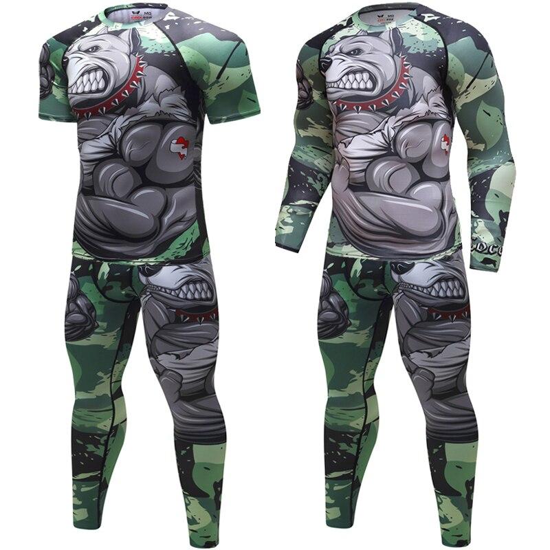2018 Mens Fitness Compression O-Neck Long sleeves   T     Shirt   Animal 3D Prints MMA Rashguard Tights Skin Man COCEDDB   T  -  Shirts
