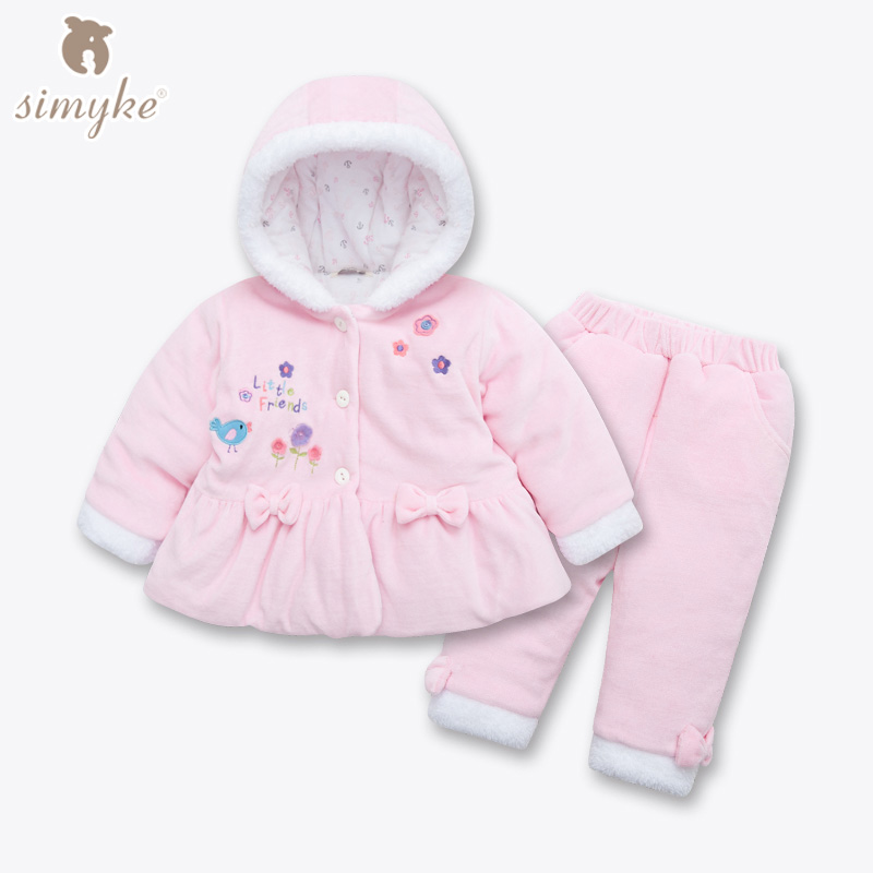 Simyke Toddler Velvet Winter Sets 2017New 2pcs Pink Set for Baby Girl Toddler Jacket+Trousers Children's Set Kids Clothing D5033 2016 winter new soft bottom solid color baby shoes for little boys and girls plus velvet warm baby toddler shoes free shipping