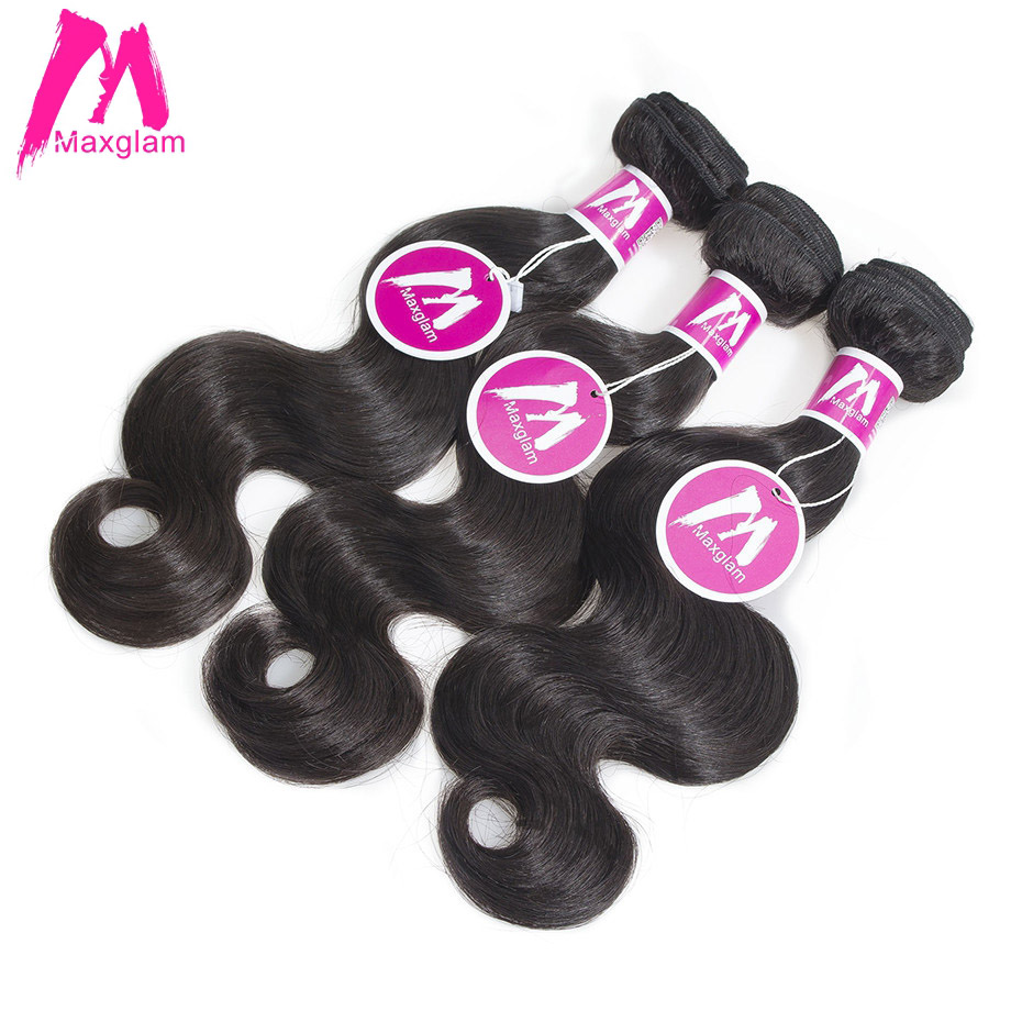 Maxglam Malaysian Virgin Hair Weave Bundles Body Wave 3 Human Hair Bundles Unprocessed Natural Color Free