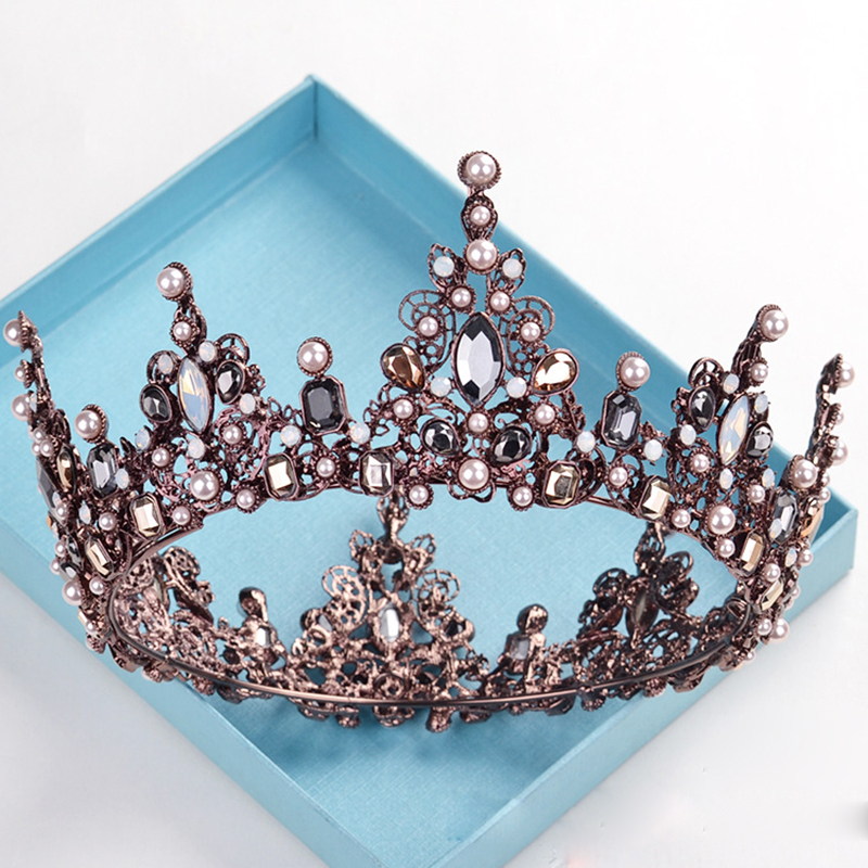 Black Wedding Hairstyles With Crown: New European Vintage Crown Tiara Black Rhinestone Round