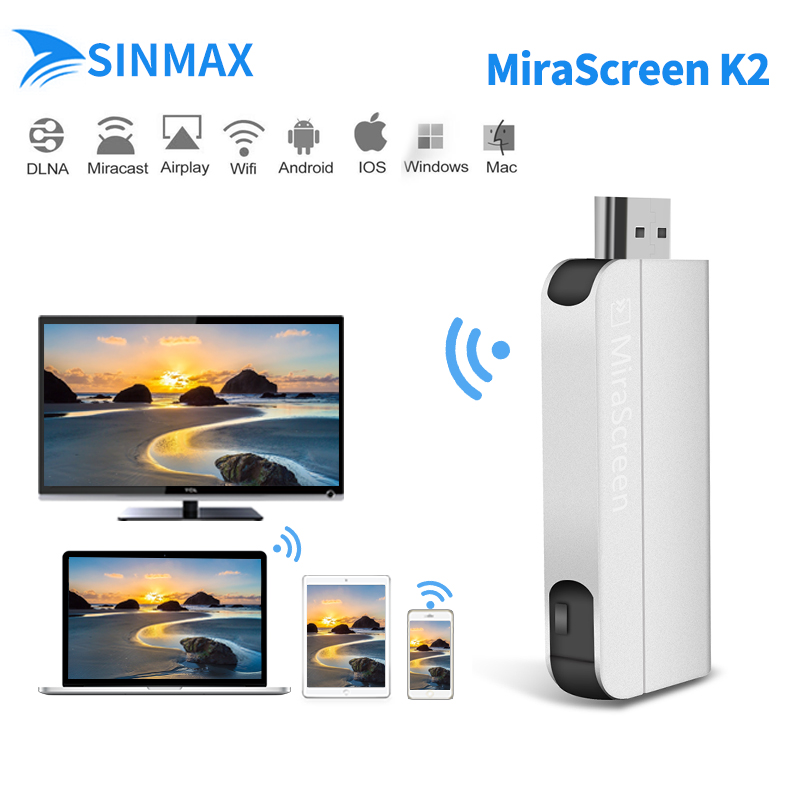 MiraScreen K2 TV Stick Wireless HDMI Dongle 2.4GHz Media TV Stick adapter Miracast Airplay DLNA for iphone Android samrtphone pc