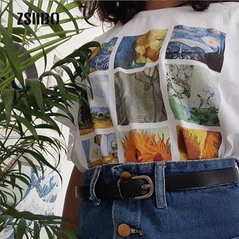 100% Wahr Neue Van Gogh Kunst öl Malerei Gitter Drucken Nette Plus Größe Tops Harajuku Casual Weibliche Sommer Kurzen ärmeln Bf Harajuku T-shirt Direktverkaufspreis