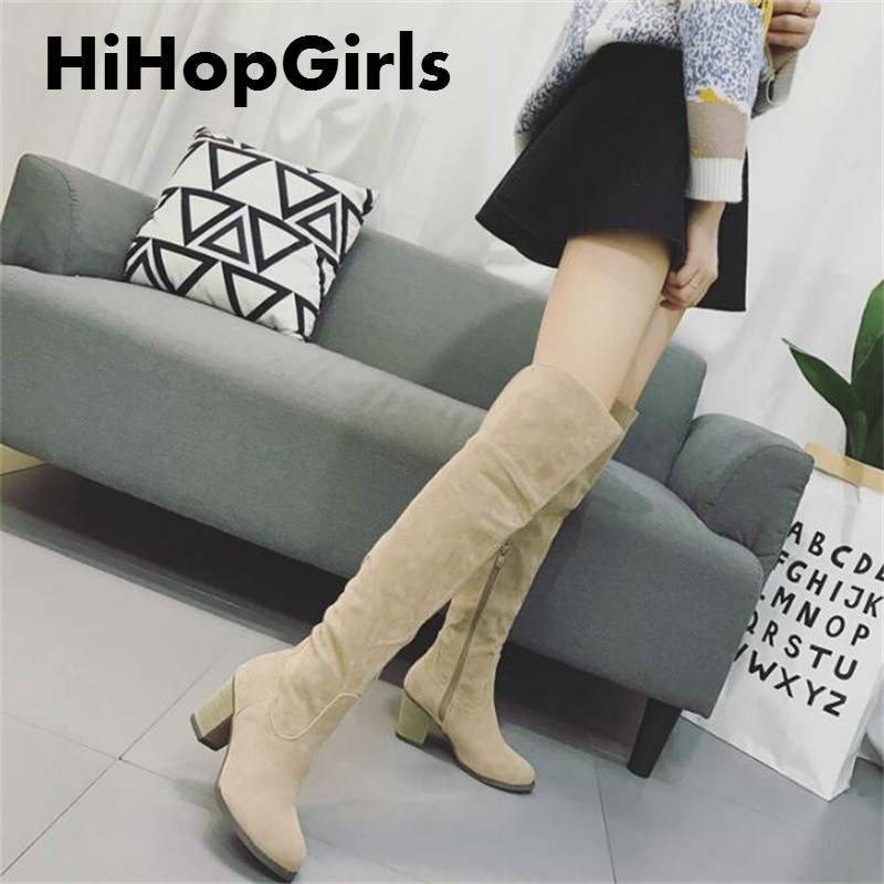 HiHopGirls Hot 2017 women winter Square heels Motorcycle boots pointed toe was thin Knee Pack legs shoes Flock snow boots #YIK78 hot selling 2015 women denim boots pointed toe tassel patchwork knee high boots crystal thin high heels winter motorcycle boots