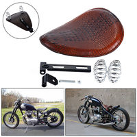 Brown Alligator Motorcycle Solo Motor Driver Seat Fit For Harley Chopper Bobber
