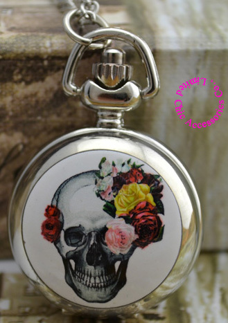 Wholesale Women Girl Lovers' Cute Flower Skull Pocket Watch Necklace Hour Good Quality Silver Mirror Sketch Drawing