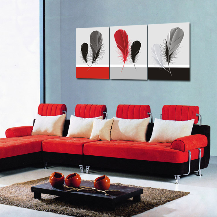 3pcs Print Canvas Oil Painting Colorful Feather Painting Printed on Canvas Modern Wall Paintings for Living Room No Frame