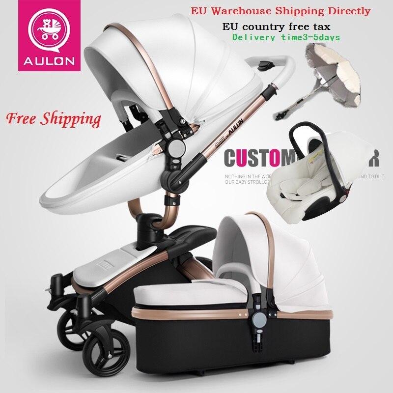Freies Verschiffen Aulon/Liebste Keine Steuer Luxus Baby Kinderwagen 3 in 1 Mode Wagen Europäischen Kinderwagen Anzug für Liegen und Sitz