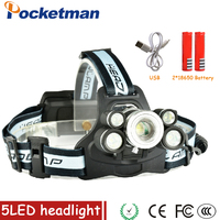 LED Headlight Rechargeable Zoomable Headlamp Outdoor Camping Multi Purpose Bike LED Head Light For Batteries And
