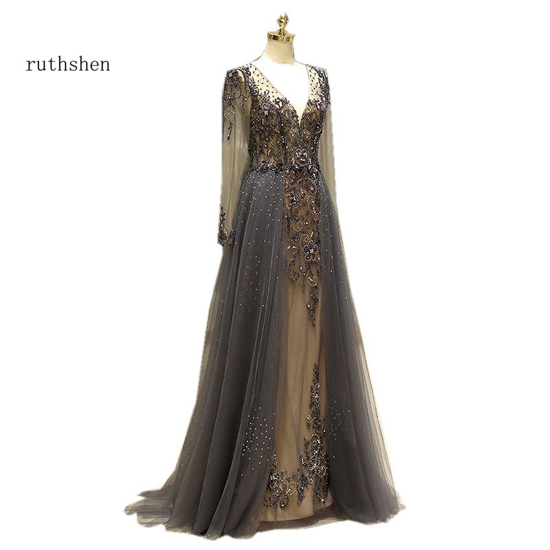 ruthshen 2018 New Transparent Long Sleeves   Prom     Dress   Handmade Diamonds V-neck Formal Party   Dress   Illusion Vestido De Formatura