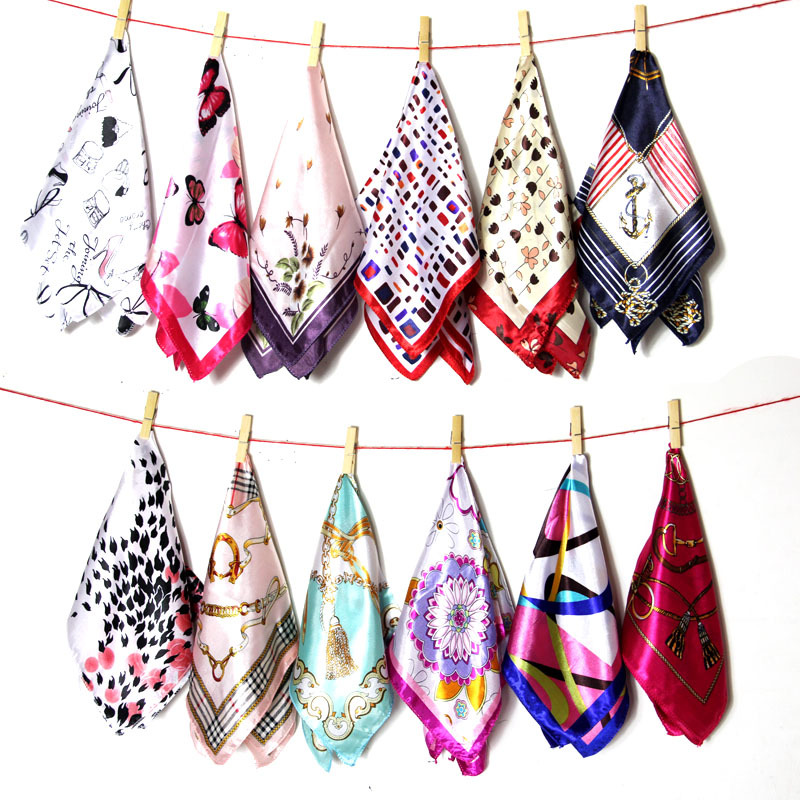 50*50 Elegant Spring Printed Silk Scarf Women Ladies Scarves Professional Small Squares Luxury Design Satin Scarf