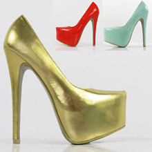 2015 16cm ladies's extremely excessive heels sneakers t marriage ceremony sneakers social gathering sneakers pink gold
