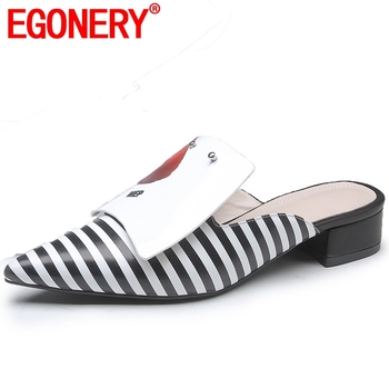 EGONERY Striped Genuine Leather woman's slippers Summer Outside Beach muller plus size Punk retro pointed toe med heels shoes