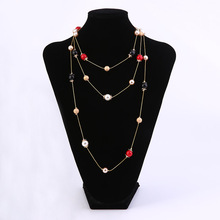 Sell ​​Womens Simple Multi-Layer Necklace Long Fashion Multi-Color Beaded Jewelry Party Clothing Matching