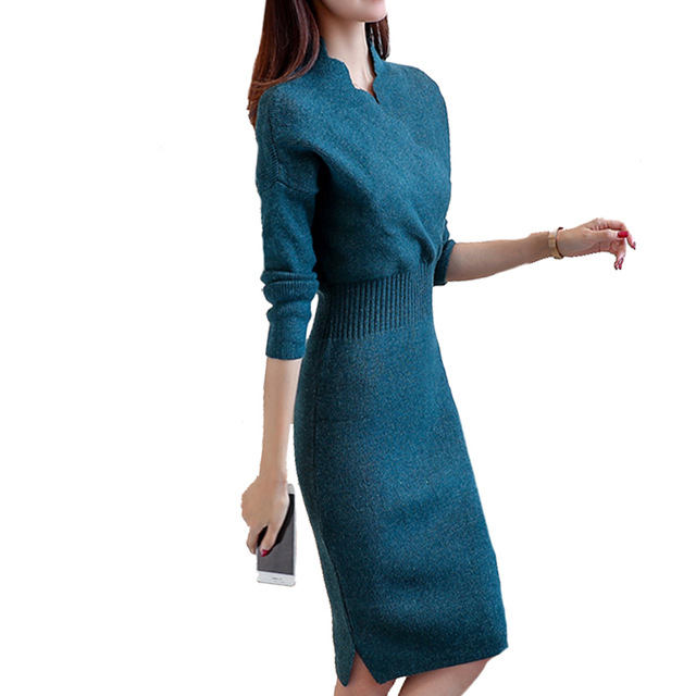 New Women Winter Elegant Dress Long Sleeve Thicken Party Slim Knitted Sweaters Dresses F ...