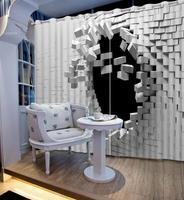 Preto e branco cortina blackout poliéster criativo parede 3d cortina para sala de estar quarto janela decoração