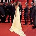 Festival de Cannes 2017 Red Carpet Celebrity Dresses Amarillo de Un Hombro Plisa Vestidos de Gasa 08194 W