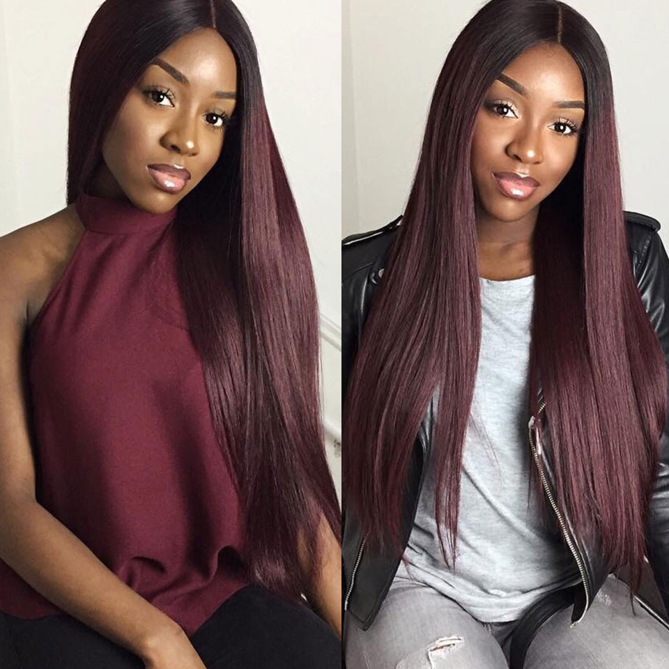 1B 99J Burgundy Ombre Lace Front Wig 2 Tone Colored Remy Hair Brazilian Straight Glueless Lace