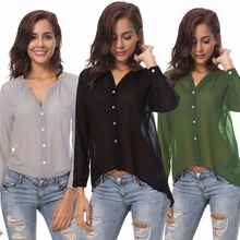 Popular European and American spring and summer new V-neck long-sleeved transparent sexy button loose female chiffon shirt spring and summer new style european and american loose chiffon shirt slash neck striped chiffon top