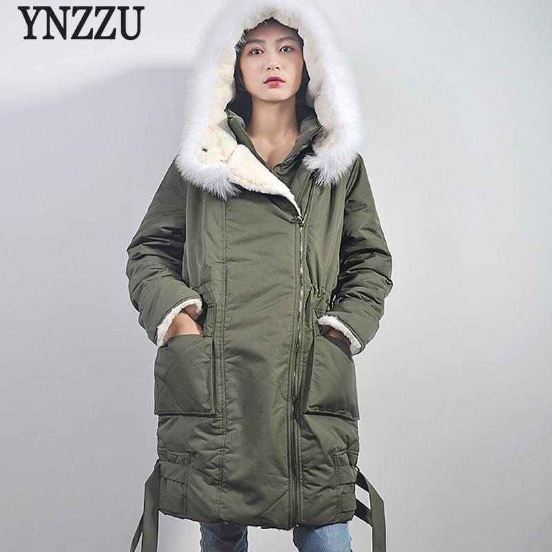 YNZZU Casual Army Green Black New Winter Women   Down   Jacket Long Duck   Down     Coat   Women with Fur Collar Warm Female Jacket O798
