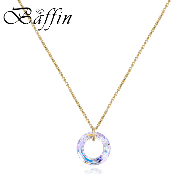 цены BAFFIN Fancy Stone Crystal Necklaces Pendant Cosmic Circle Crystals From Swarovski For Women Gold Silver Color Simple Jewelry