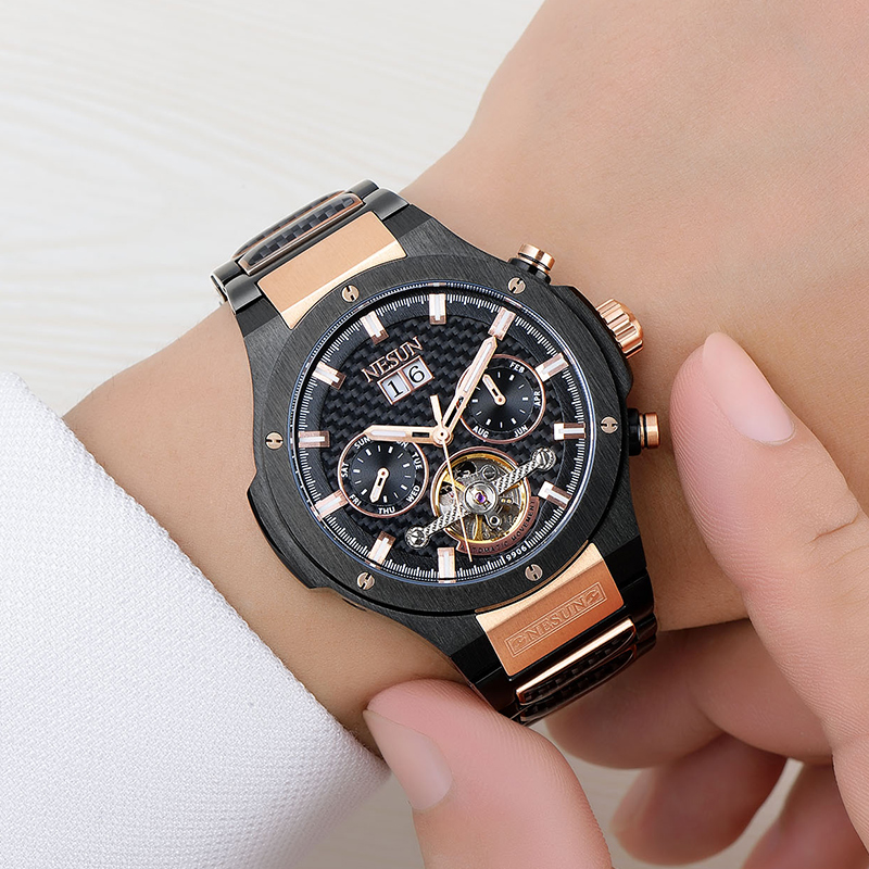 NESUN Hommes Marque De Luxe Tourbillon Creux Automatique montres-bracelets mécaniques Saphir Étanche Montres Hommes Relogio Masculino