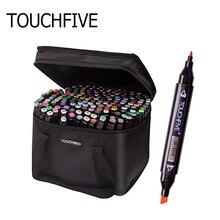 Rotulador de piel para bocetos Touchfive 30/40/60/80/168 rotulador de Color con dos puntas, marcadores de Alcohol para bocetos, juego de marcadores artísticos arte Manga, suministros