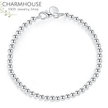 Charmhouse Pure Silver 925 Jewelry 4mm Beads Ball Chain Brac