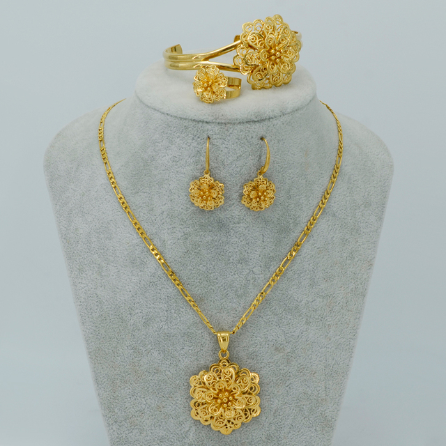 - Gold Plated Flower Jewelry sets Necklace Earrings Bangle Ring Ethiopian set Jewelry Africa Bride Wedding Eritrea #022106