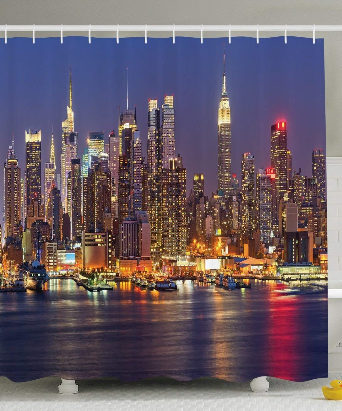 Cityscape Shower Curtain NYC New York City Night Skyline Scenery View Artwork Picture Prints Polyester Fabric