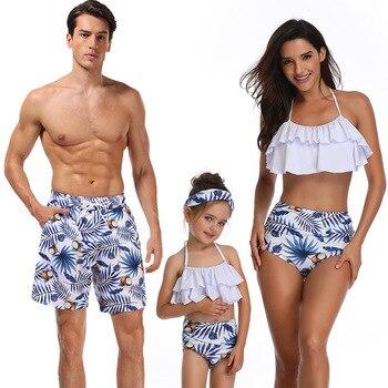 e6ef9d5d9 Traje de baño a juego de la familia ropa de playa mamá y yo traje de baño madre  hija Padre hijo ropa vestidos de cintura alta Bikini mirada mamá