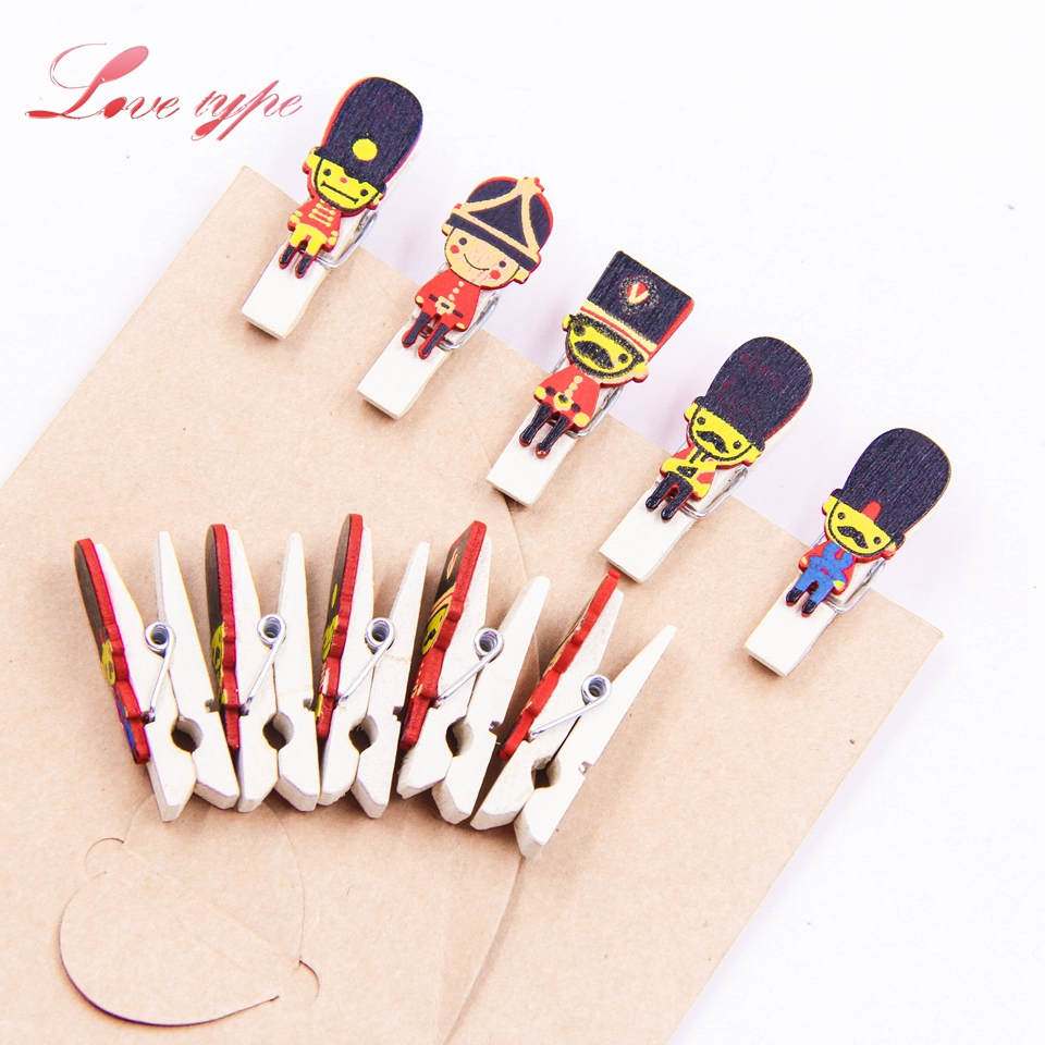 20PCS Clip Nutcracker Wooden Clips Walnuts Soldiers Photo Clothespin Clips DIY Craft For Christmas Party Wedding Home Decoration
