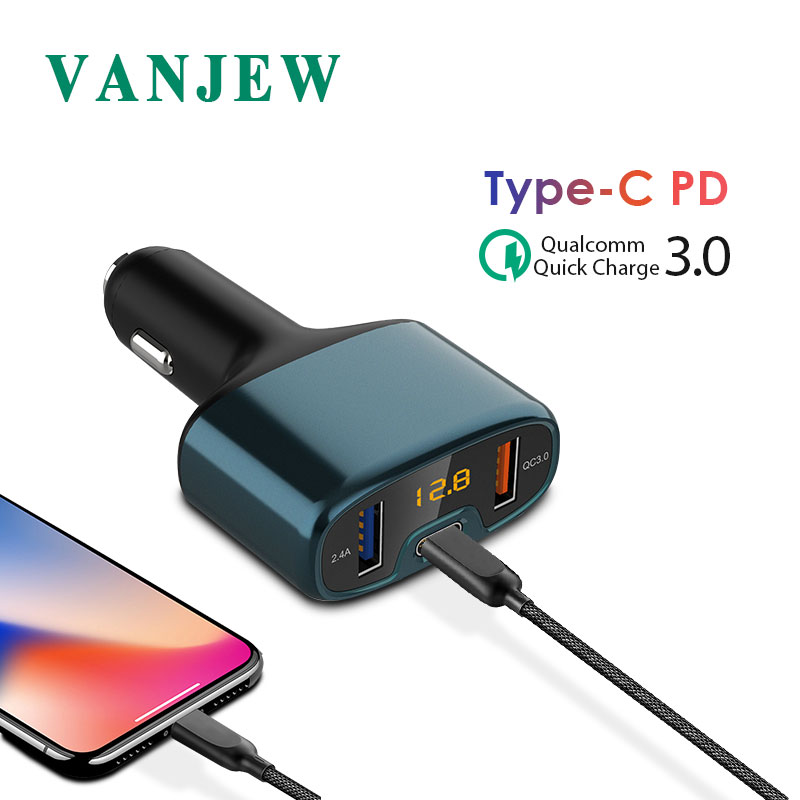VANJEW C52C Car Charger 3.0 Quick Charge Type-C PD Power Adapter 3USB Ports 32W Fast Charge For iPhone X 8 7 for Samsung S8