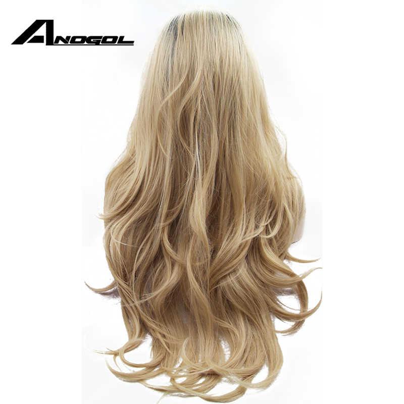 Anogol Ombre Blonde Lace Front Wig Gelap Akar Tanpa Glueless Tanpa Sintetis Tahan Panas Serat Alami Sepenuhnya Rambut Wig Wanita Panjang Bergelombang