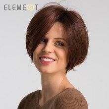 Element 8 дюймов Синтетические парики смесь 50% человеческих волос Омбре красный цвет левая сторона расставание натуральный головной убор Glueless парик для женщин
