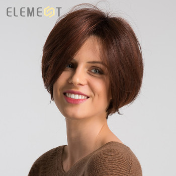 Element Short Synthetic Wigs Blend 50% Human Hair Ombre Red Color Left Side Parting Natural Headline Wig for White/Black Women цена 2017