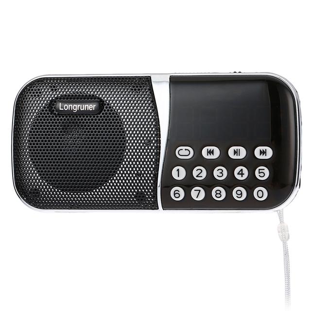 Original Altavoz LONGRUNER L-23 de Bolsillo de Radio FM altavoz Reproductor de Audio Portátil Con Ranura Para Tarjeta TF Soporta Volumen Control