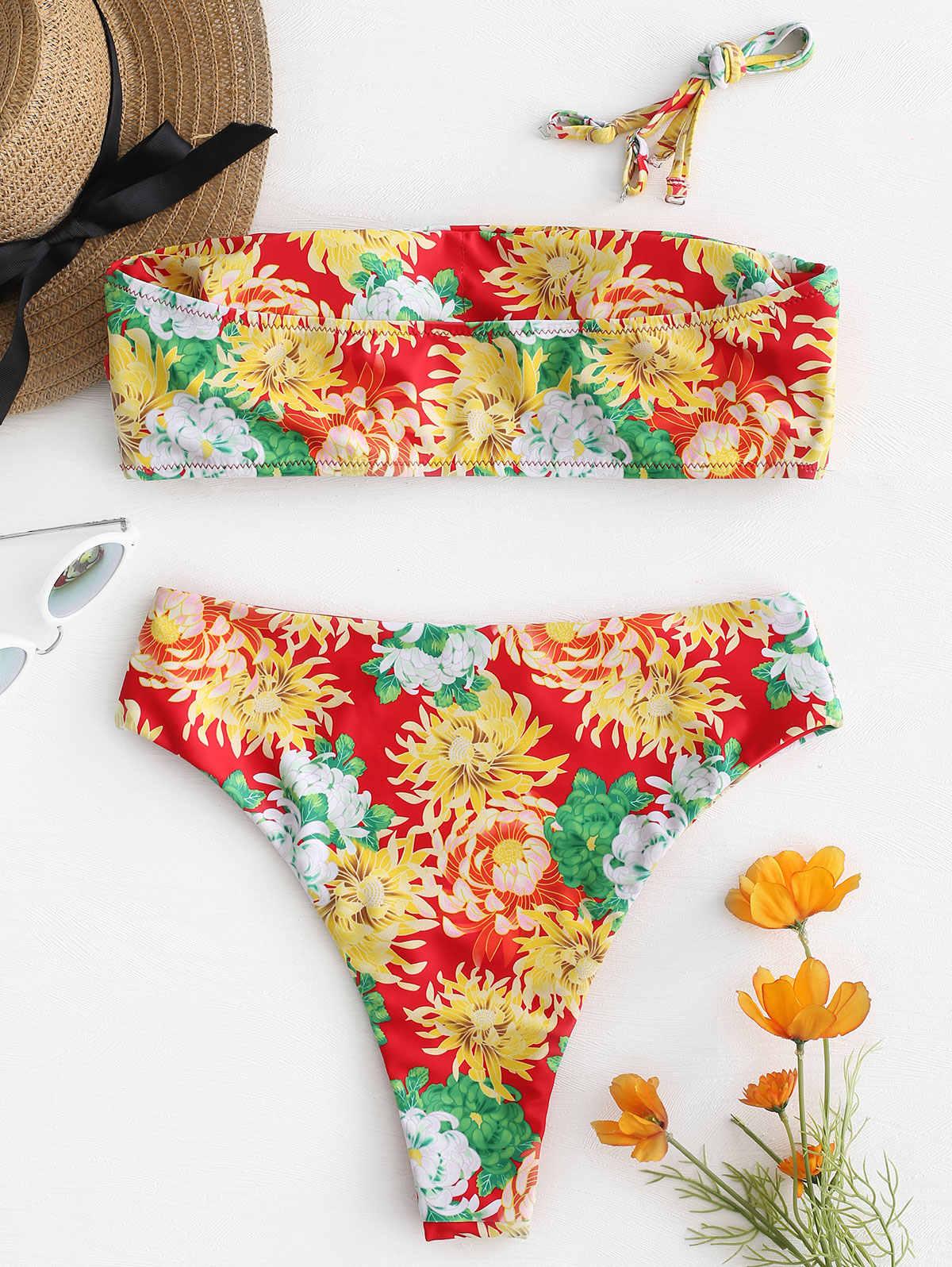 ZAFUL kobiety Sexy bez ramiączek wysoki wzrost słonecznika strój kąpielowy Floral bikini z nadrukiem zestaw Swimwer strój kąpielowy Maillot De Bain Femme