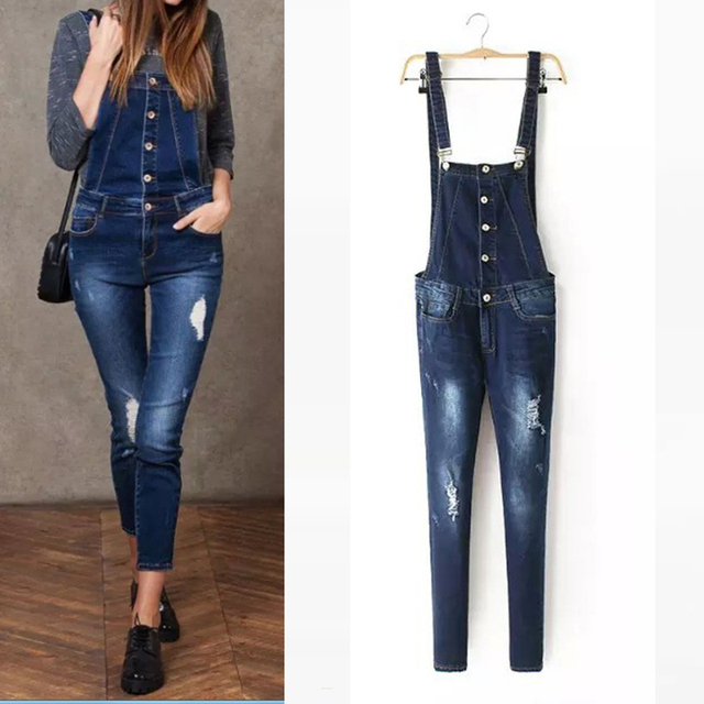 2017 Spring Fashion Denim Overalls For Women Rompers Womens Jumpsuit Ripped High Waist Jeans Woman Full Length Casual Denim