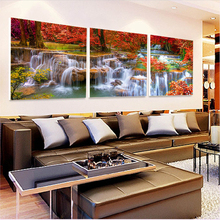 ФОТО print canvas painting pictures modular   on the wall for living room art Sofa  modern pictures landscape  waterfall