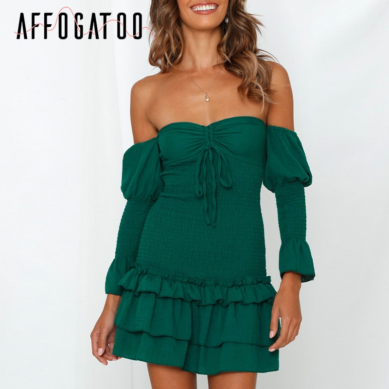 Affogatoo Sexy off shoulder summer mini dresses women Elegant ruffle sleeve white dress female Casual beach ladies party dresses
