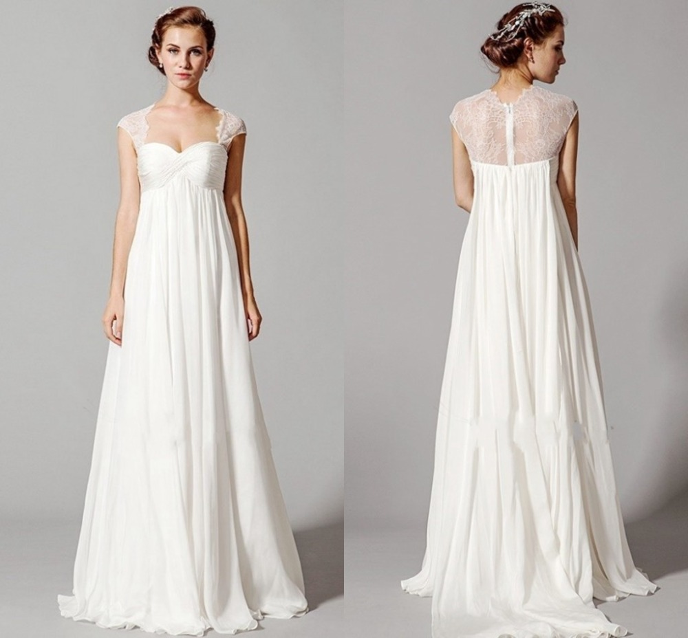 Plus Size Empire Waist Wedding Dress With Sleeves