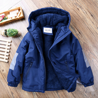 Boy's plus velvet thick coat kids winter warm hooded jacket