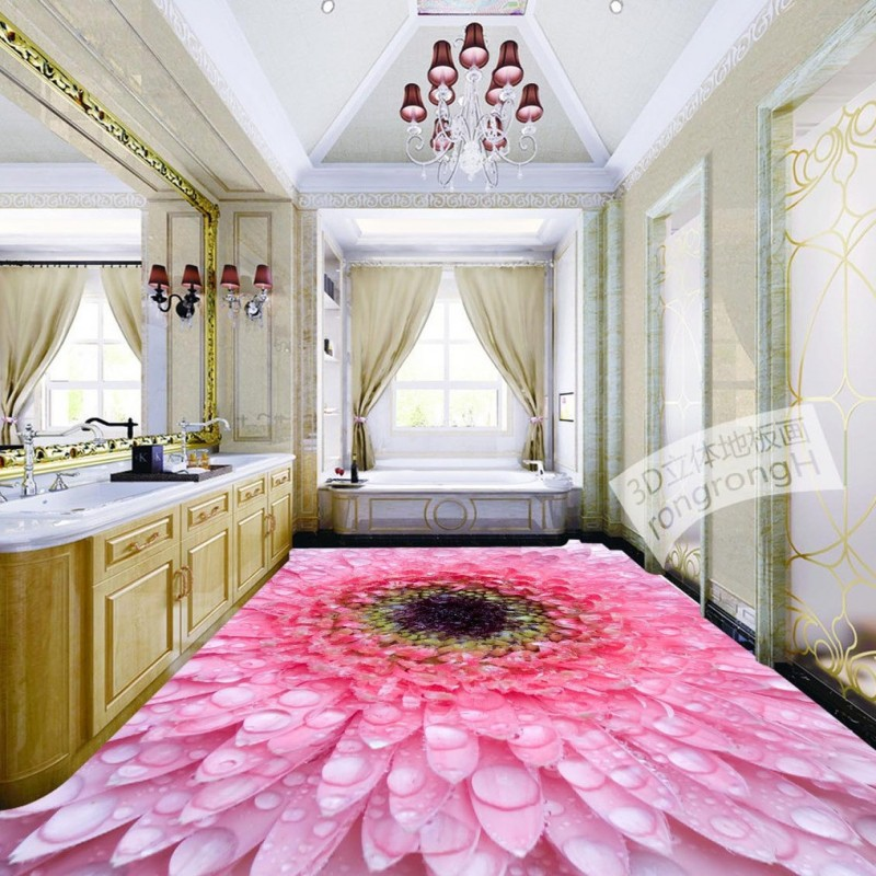 Free Shipping 3D plant floral water drops floor painting non-slip self-adhesive bedroom living room bathroom flooring mural free shipping 3d rockery pool plant floral bedroom living room toilet hotel restaurant floor painting wallpaper mural