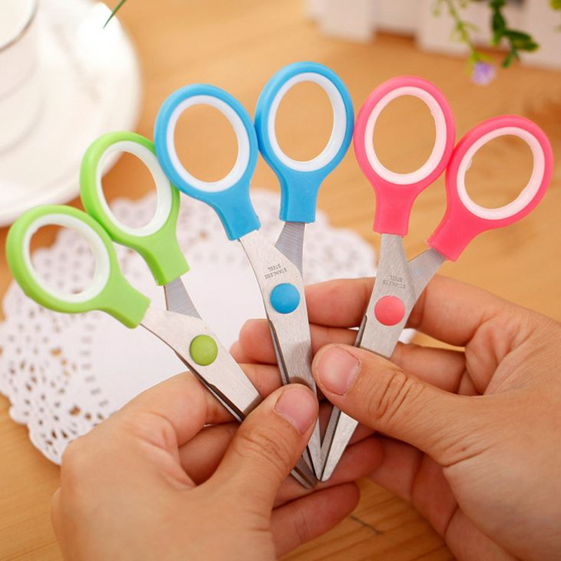Coloffice 1PC Candy Color Scissors  Safe Multipurpose Household Cutting Paper Tools Plastic For Kid Student Office School Supply