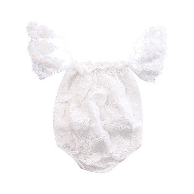 Newborn Infant Baby Clothes Girls Floral Lace Off Shoulder Ruffle Romper Jumpsuit Outfit Sunsuit Summer One-Piece Baby Onesie newborn infant baby girl clothes strap lace floral romper jumpsuit outfit summer cotton backless one pieces outfit baby onesie