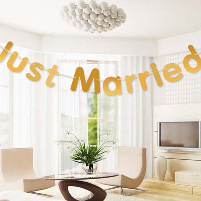 Реквизит для фотосессии буквы декоративные Баннер вечерние поставки Just Married знаки Бумага гирлянды Свадебная вечеринка украшения