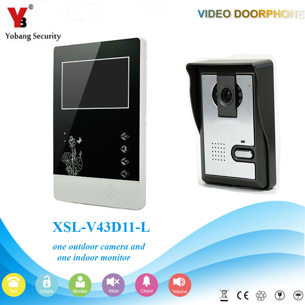 YobangSecurity 4.3Inch Color Wired Video Door Phone System Visual Intercom Doorbell with 1 Monitor 1 Outdoor Camera Rainproof yobangsecurity 7 inch wire video door phone doorbell intercom system waterproof outdoor camera with raincover intercom system