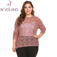 IN VOLAND Big Size XL 5XL Women Sweater Tops Spring Autumn Round Neck Back Button Down